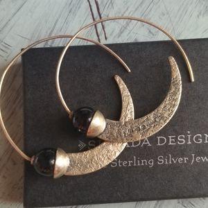 Chic! Silpada Black Onyx .925 Silver Hoop Earrings